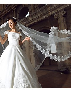 One-Tier Tulle Lace Applique Edge Cathedral Wedding Veils(More Colors)