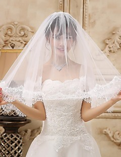 Two-tier Tulle Fingertip Wedding Veil With Lace Applique Edge