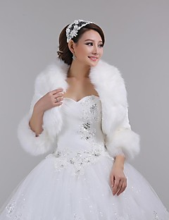 Fur Wraps / Wedding  Wraps Coats/Jackets 3/4-Length Sleeve Faux Fur Ivory Wedding / Party/Evening Open Front