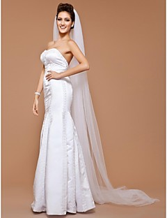 Wedding Veil One-tier Cathedral Veils Cut Edge 118.11 in (300cm) Tulle White
