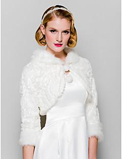 모피는 3/4 소매 가짜 모피 cassual 랩&결혼식&특별한 occaion 숄 / 저녁 재킷 볼레로 어깨를 으쓱