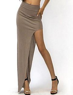 Women's Solid Khaki/Blue/Wine Skirt,Sexy High Slit Elastic Waist Asymmetrical