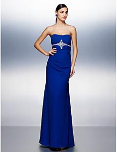 구슬 / 입체 재단과 TS couture® 공식적인 저녁 드레스 플러스 사이즈 / 아담 칼집 / 칼럼 끈이 바닥 길이 쉬폰