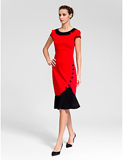 Homecoming Cocktail Party Dress - Ruby Sheath/Column Jewel Knee-length Polyester