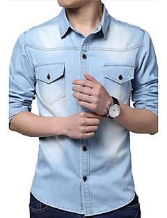 Langærmet Herre Ensfarvet Afslappet/Hverdag Plusstørrelser Skjorte,Bomuld Polyester