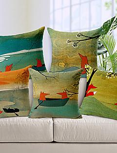 ensemble de motif de renard dessinée à la main de style coton / lin taie d'oreiller décoratif 5 pays