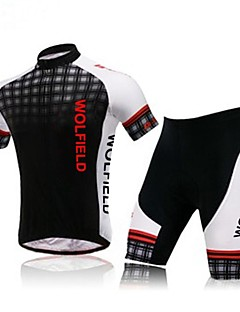 WOLFBIKE® Cycling Jersey with Shorts Men's Short Sleeve Bike Breathable / Front Zipper / Back PocketArm Warmers / Jersey + Shorts /
