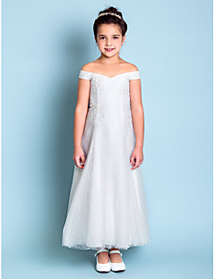 LAN TING BRIDE A-line Ankle-length Flower Girl Dress - Lace Off-the-shoulder with Embroidery