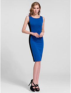 Cocktail Party Dress - Ruby/Royal Blue Sheath/Column Jewel Knee-length Cotton