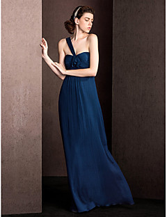 Floor-length Silk Bridesmaid Dress Sheath / Column One Shoulder with Draping / Ruching
