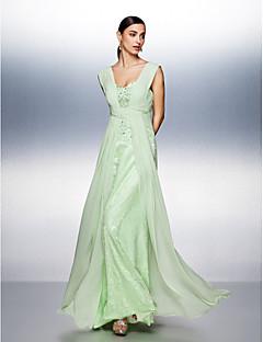 드레스 - 세이지 A라인 바닥 길이 스트랩 쉬폰/명주그물