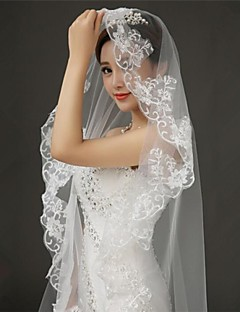 Wedding Veil One-tier Cathedral Veils Lace Applique Edge 118.11 in (300cm) Tulle White