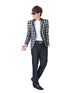 zwart&grijze boerenbont slim fit smoking in polyester