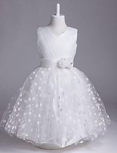 A-line Knee-length Flower Girl Dress - Organza V-neck with Flower(s) Bandage