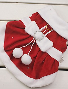 Gatos / Cães Fantasias / Vestidos Vermelho Roupas para Cães Inverno Laço Fantasias / Natal / Ano Novo