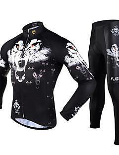 FJQXZ שרוול ארוך חולצה וטייץ לרכיבה לגברים אופניים ג'רזי טייץ רכיבה על אופניים מדים בסטיםנושם שמור על חום הגוף ייבוש מהיר עמיד אולטרה