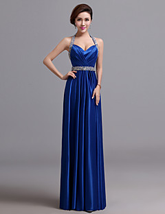 Formal Evening Dress - Royal Blue A-line Halter Floor-length Silk