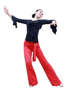 ריקודים סלוניים חלקים תחתונים בגדי ריקוד נשים ביצועים אימון סאטן אלסטי דמוי משי שרוול ארוך