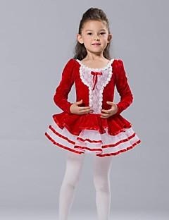 Детская одежда для танцев Верхняя часть Юбки и платья Тюлевая юбка Детские Шифон Спандекс Тюль Бархат Длинный рукав