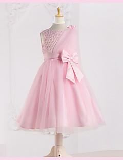 온라인 보석 차 길이 얇은 명주 그물 꽃의 소녀 드레스 (더 많은 색상)