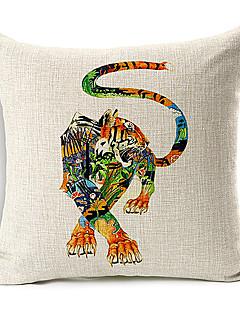 handritade Tiger mönster bomull / linne dekorativa örngott