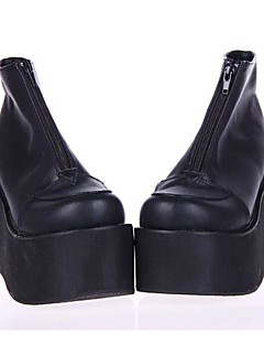 svart PU lær 10cm plattform punk lolita sko