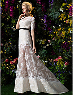 Lan Ting A-line/Princess Wedding Dress Sweep/Brush Train Bateau Lace
