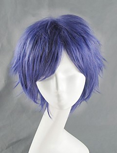 Cosplay Wigs Angel Beats Cosplay Purple Short Anime Cosplay Wigs 35 CM Heat Resistant Fiber Male