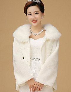 Fur Wrap Elegant  Faux Fur Long Sleeve Wedding /Special Occasion Jackets/Wraps