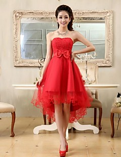 Cocktail Party Dress - Open Back A-line / Princess Strapless Asymmetrical Chiffon / Lace with Bow(s) / Lace / Sash / Ribbon