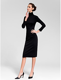 Cocktail Party Dress - Black Plus Sizes Sheath/Column High Neck Tea-length Cotton