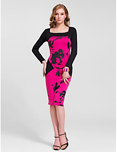 Homecoming Cocktail Party Dress - Multi-color Sheath/Column Square Knee-length Cotton