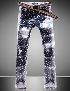 Men's Print Pant , Cotton Blend/Denim Casual