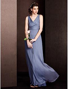 Floor-length Silk Bridesmaid Dress Sheath / Column V-neck with Draping / Criss Cross / Ruching