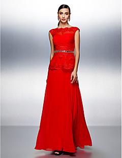 드레스 A-라인 보트넥 바닥 길이 쉬폰 와 비즈 / 크리스탈 디테일 / 레이스 / 허리끈/리본 / 크리스 크로스 / 루시 주름 장식