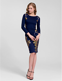 Kappe / Kolonne Juvel - Cocktail Fest Dress - Mørk Navy Knelengde Bomull