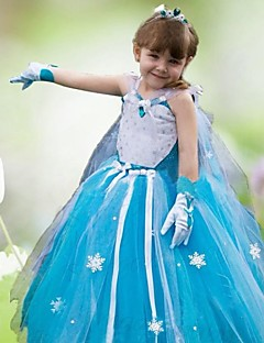 Mädchen Kleid Organza Ganzjährig Blau