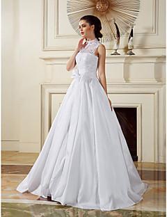웨딩 드레스 - 화이트 A 라인/프린세스 바닥 길이 하이넥 태피터