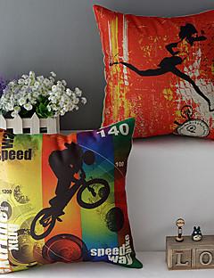 ensemble de deux sports thème coton / lin imprimé taie d'oreiller décoratif