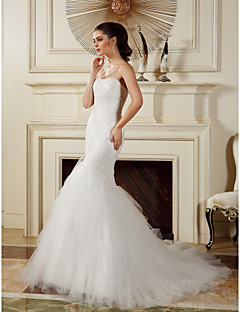 Lanting Fit & Flare Wedding Dress - Ivory Court Train Strapless Tulle