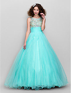 TS Couture® Dress Plus Size / Petite A-line Scoop Floor-length Tulle with Beading / Ruching