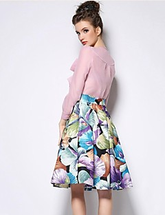 Women's Purple/Beige Skirts , Casual/Print/Party Knee-length
