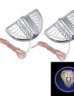 universella 3w 12v 3000K 2led bildörr skugga belysning med lim, automotive ledde logotyp välkommen lampa, lejon logotyp (1pair)