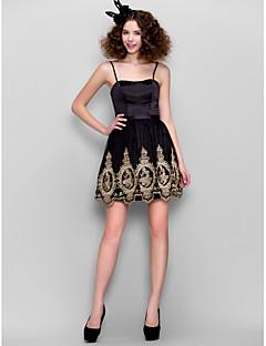 Dress - Black A-line Straps Short/Mini Satin