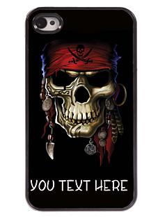 caso pirata caso o projeto do crânio de metal personalizado para iPhone 4 / 4S