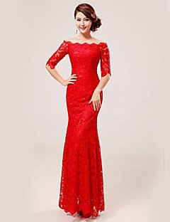Formal Evening Dress Trumpet/Mermaid Scalloped Floor-length Lace