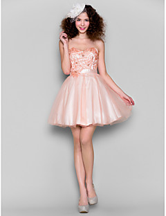 Dress - Pearl Pink Plus Sizes / Petite Ball Gown Sweetheart Short/Mini Tulle