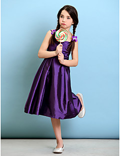 Knee-length Taffeta Junior Bridesmaid Dress - Grape A-line / Princess Spaghetti Straps