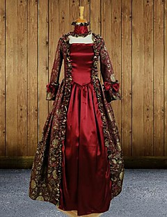 Long Sleeve Floor-length Wine Red Cotton Gothic Lolita Dress