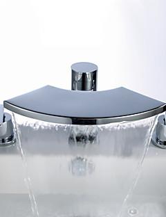 Moderní Vodopád Široká baterie Se třemi otvory for  Pochromovaný